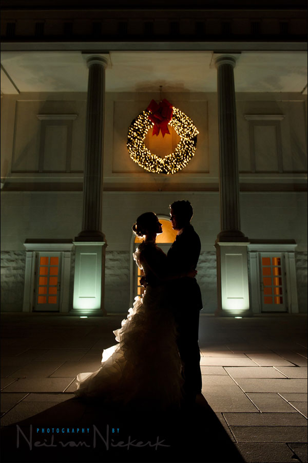 Back-lighting with flash for silhouetted wedding portraits