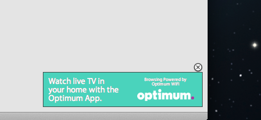 Optimum Online & spam popup adverts