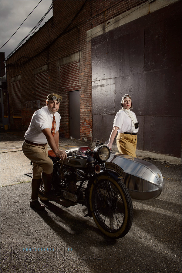 Photographing a vintage motorbike on location with Profoto lighting