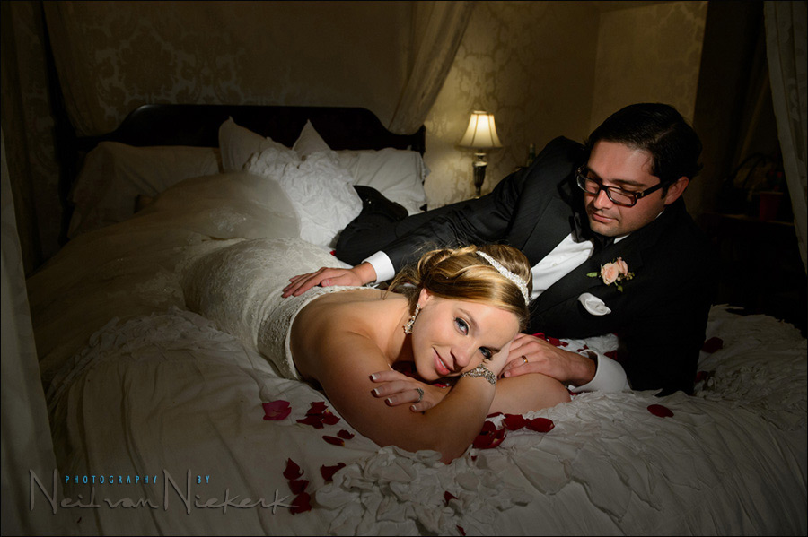 Using video light for romantic portraits of the bride & groom