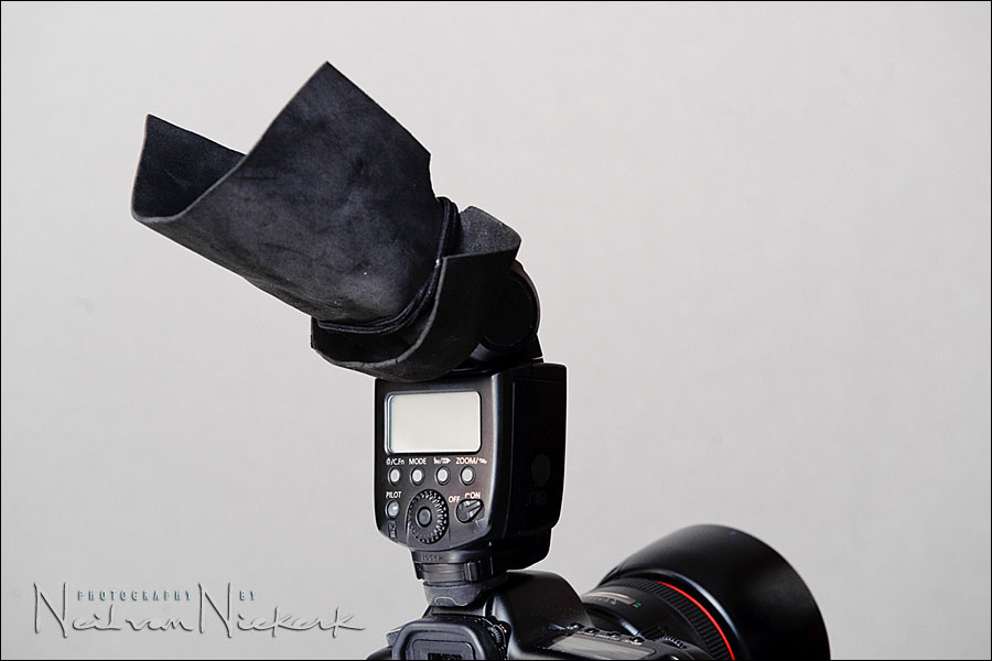 the black foamie thing – on-camera flash modifier
