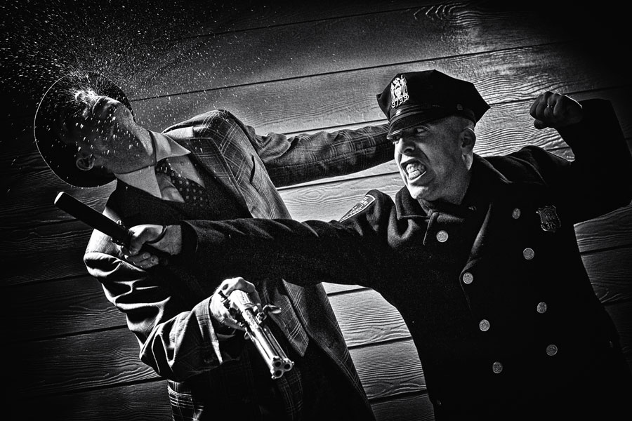 photo shoot: Film Noir Fight Scene, inspired by Frank Miller
