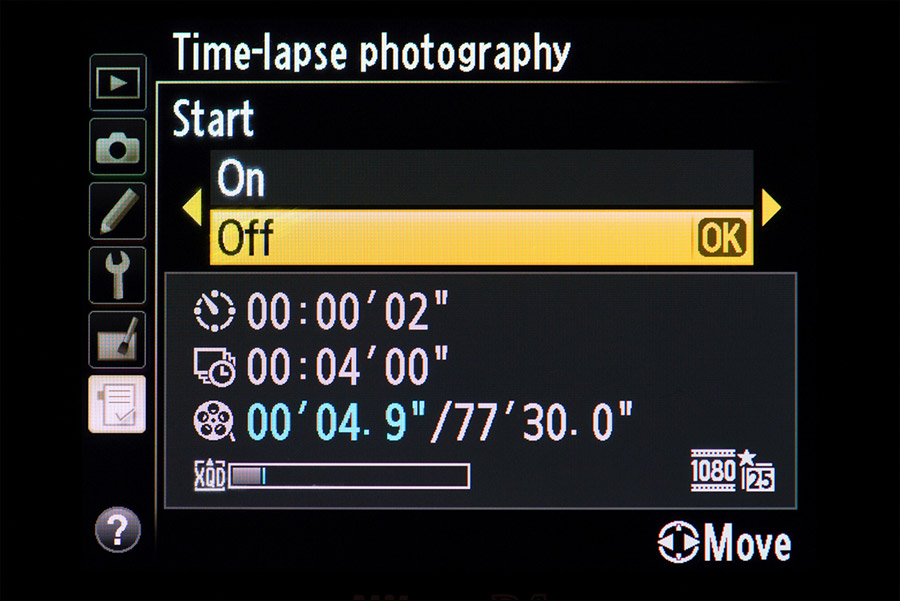 Using Nikon's built-in Time-lapse photography feature